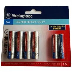 باتری قلمی 4 عددی زینک کربن + 2 عدد باتری نیم قلمی رایگان وستينگ هاوس