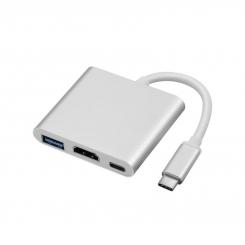 تبدیل USB 3.1 Type C به HDMI و USB 3.1 و Type C با قابلیت PD2.0 فرانت