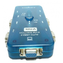 کی وی ام سوییچ 4 پورت V-net مدل Auto USB +کابل