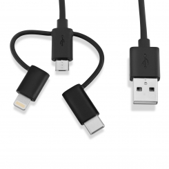 کابل 3 منظوره USB 2.0 To Type-C/Lightning/Micro B بطول 1 متر (سفید)