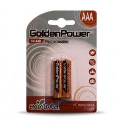 باتری نیم قلمی شارژی گلدن پاور 900 میلی آمپر - پک 2 عددی