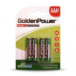 باتری نیم قلمی سوپر هوی دیوتی گلدن پاور (کربنی) - پک 4 عددی