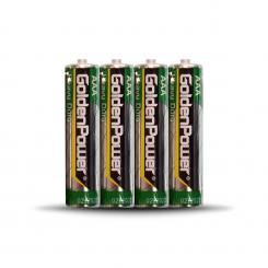 باتری نیم قلمی گلدن پاور - کربنی شرینگ - پک 4 عددی