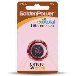 باتری سکه ای 1616 گلدن پاور - پک 1 عددی