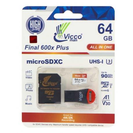 کارت حافظه microSDHC ویکو من مدل Final 600X ظرفیت ۶۴ گیگابایت همراه با آداپتور SD