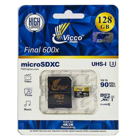 کارت حافظه microSDHC ویکو من Final 600x کلاس ۱۰ استاندارد UHS-I U3 سرعت ۹۰MBps ظرفیت ۱۲۸گیگابایت
