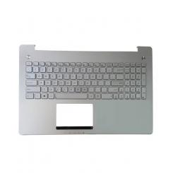 کیبورد لپ تاپ ایسوس N550 نقره ای - با قاب C - با بک لایت