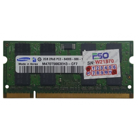 رم لپ تاپ 2 گیگ Samsung DDR2-800-6400 MHZ 1.8V