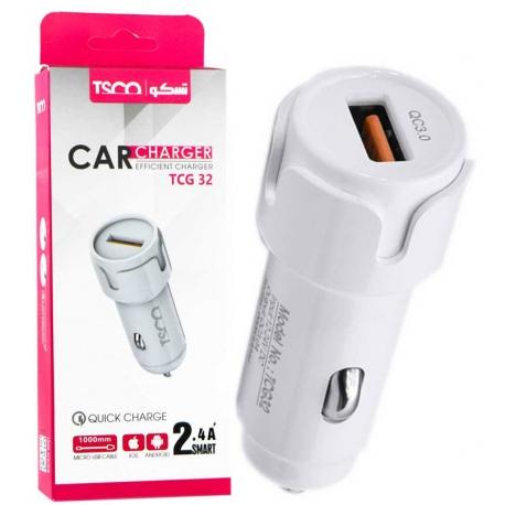 شارژر فندکی فست شارژ TSCO TCG 32 QC3.0 + کابل میکرو یو اس بی