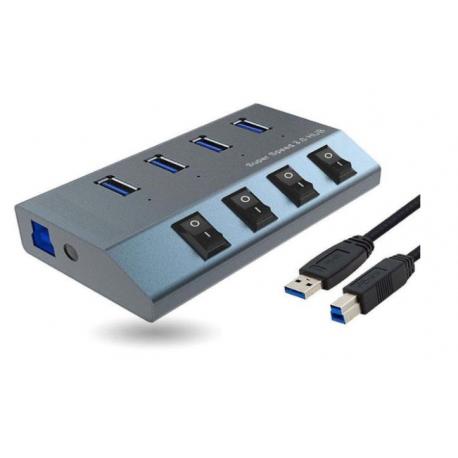 هاب 4 پورت فرانت USB 3.0 کلید دار همراه آداپتور مدل FN-U3H440S